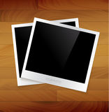 Empty photos vector illustration. On a wooden background Royalty Free Stock Image