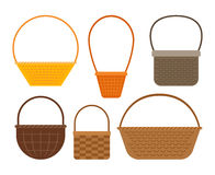 Empty picnic basket set. Empty baskets isolated on white background. Osier wicker picnic vector basket set stock illustration