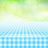 Empty picnic gingham tablecloth, green background Stock Photos