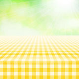 Empty picnic gingham tablecloth, green background Royalty Free Stock Images