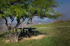 Empty picnic table. Very beautiful view on the village royalty free stock image