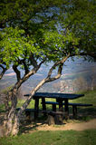 Empty picnic table. Very beautiful view on the village stock photo
