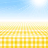 Empty picnic table, covered checkered tablecloth. Royalty Free Stock Photography