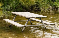 Empty picnic table in water by plants. Empty picnic table standing in brown water against green plants Stock Photography