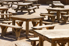 Empty Picnic Tables. In the very hot sun of Arizona, USA Royalty Free Stock Image