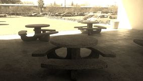 Empty picnic tables Stock Image