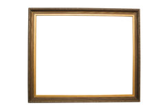 Empty picture frame. Empty gold frame isolated on white background Royalty Free Stock Photography