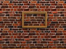 Empty picture frame hanging on a rope brick wall wooden floor Royalty Free Stock Photos
