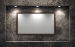 Empty picture frame on old concrete wall Stock Images