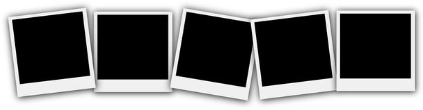 Empty picture frame Polaroid style set. 5 empty picture frames Polaroid style set on white background illustration Royalty Free Stock Image
