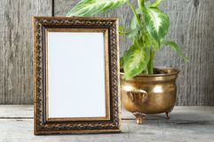 Empty picture frame on wooden background. stock photo