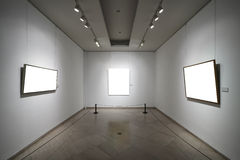 Empty picture frames. Three empty picture frames in gallery stock photos