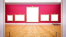 Empty picture frames. Nice old picture frames at a museum with copy space Royalty Free Stock Image