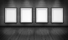 Empty picture frames in the art gallery room Stock Photography