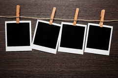 Empty picture frames on line Royalty Free Stock Photo