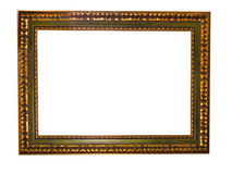 Empty picture gold frame with a decorative pattern Royalty Free Stock Photos
