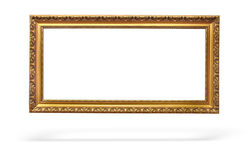 Empty picture gold frame with a decorative pattern Royalty Free Stock Image