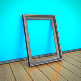 Empty Picture Or Photo Frame On Wooden Floor. 3d Render Illustration Royalty Free Stock Photography