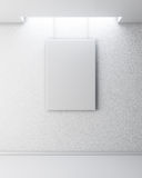 Empty picture on white wall. Gallery Interior with empty frame o Stock Images