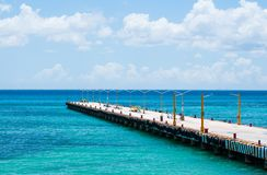 Free Empty Pier For Ferries On Blue Caribbean Sea. Royalty Free Stock Photography - 161124447