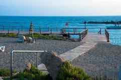 Empty pier. On the mediterranean ocean Stock Photo