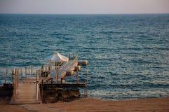 Empty pier. On the mediterranean ocean Royalty Free Stock Photos