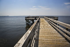 Empty Pier & Oil Booms, Gulf Coast, Gulf Coast Stock Photo