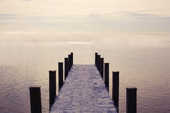 Empty pier to the ocean Royalty Free Stock Photo