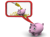 Empty piggy bank dreaming about money. Pig piggy bank dreaming about a lot of money. . 3D Illustration Royalty Free Stock Photography