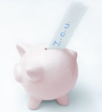 Empty Piggy Bank with IOU Royalty Free Stock Photography
