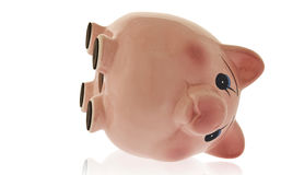 Empty Piggy Bank On Side Royalty Free Stock Photography