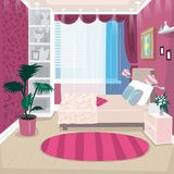 Empty pink children room for girl. Empty pink children or nursery room for girl. Interior design repair in small bedroom. Expressive cartoon style Stock Photos