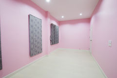 Empty pink room with door and window Royalty Free Stock Photo