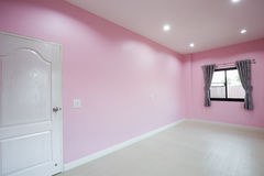 Empty pink room with door and window Royalty Free Stock Photography
