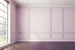 Empty pinkish room interior, window Stock Photos