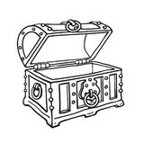 Empty pirate treasure chest. Open wooden trunk. Sketch style hand drawn isolated vector illustration. Empty metal-bound pirate treasure chest. Open old wooden royalty free illustration