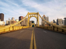 Empty Pittsburgh Bridge. Big empty bridge in downtown Pittsburgh Pennsylvania Royalty Free Stock Photography