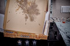 Empty pizza box. With grease stains, a  fast food concept Stock Images