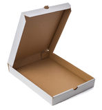 Empty pizza box. Open cardboard box isolated on white background Royalty Free Stock Photo