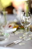 Empty place card on the festive table Royalty Free Stock Photos