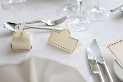 Empty place card on the festive table Royalty Free Stock Image