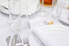 Empty place card at a festive table Stock Photography