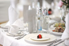 Empty place card on a festive table Stock Images