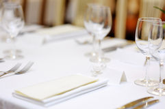 Empty place card on a festive table Royalty Free Stock Photo