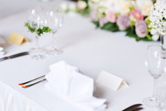 Empty place card on a festive table Royalty Free Stock Image