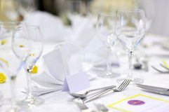 Empty place cards on the festive table Stock Photography