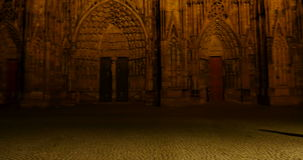Almost empty place in front of the Strasbourg Cathedral of Strasbourg stock footage