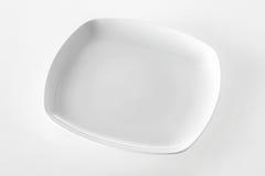 Empty plain white rectangular plate Stock Photos