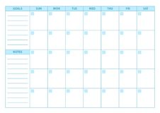 Empty Planner. Scheduler, agenda or diary template. Week starts on Sunday Stock Photo