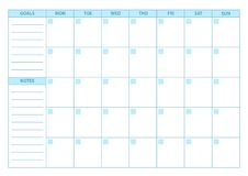 Free Empty Planner. Scheduler, Agenda Or Diary Template. Week Starts On Monday Royalty Free Stock Photography - 98269827